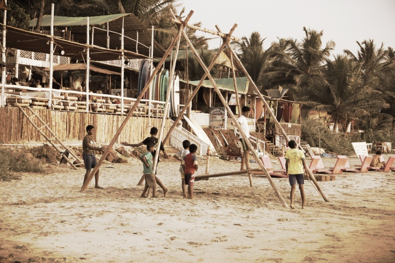 Kids playing at Mandrem Beach