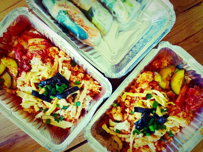 Vietnamese rolls accompanied by kimchi rice
