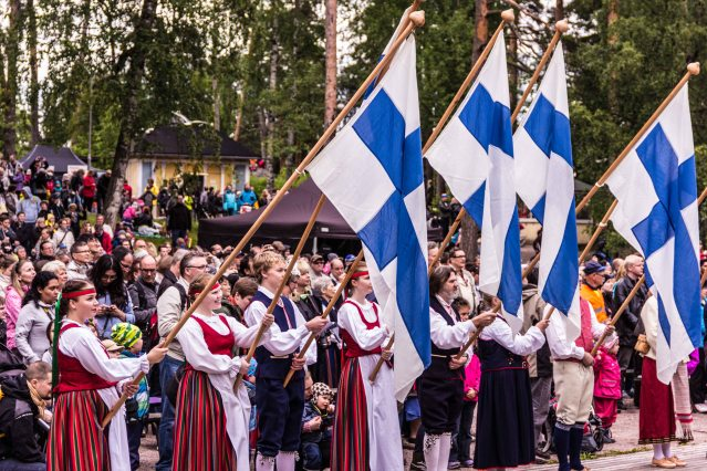 Procession of flags