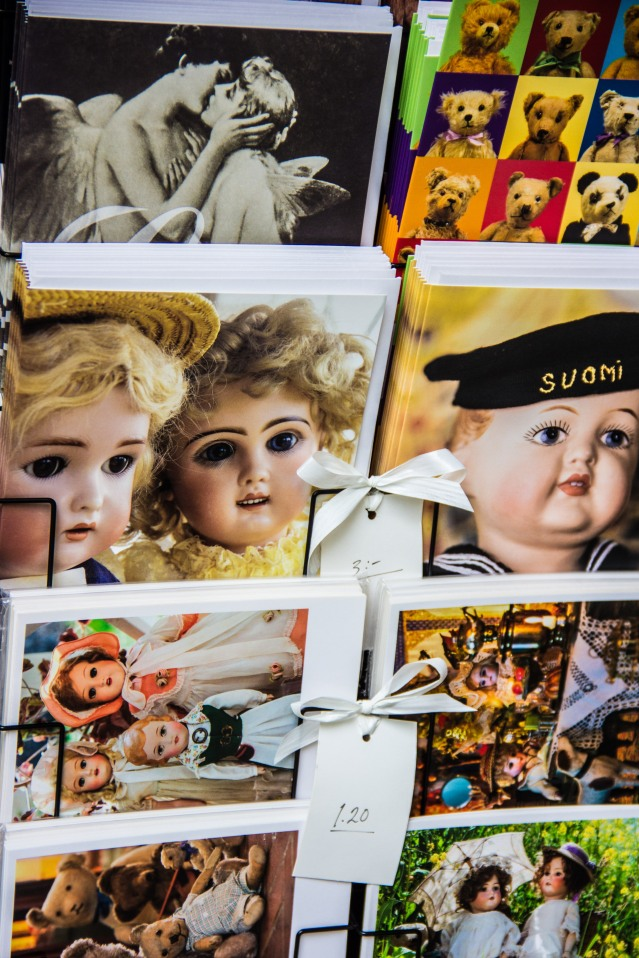 Cute postcards on sale at Suomenlinna Toy Museum