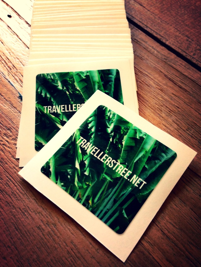 Fab stickers with Traveller's Tree logo